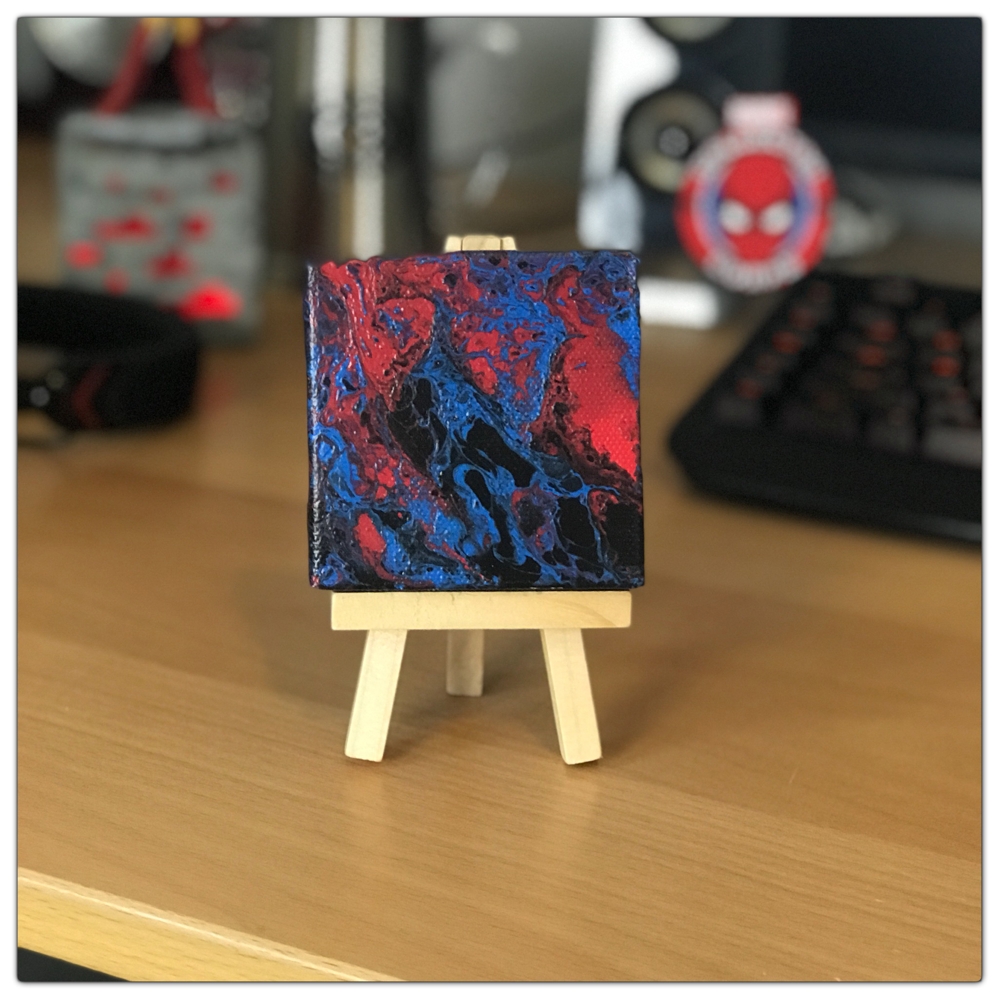 Classic Spidey Themed Abstract Mini Painting by Heather Miller Art