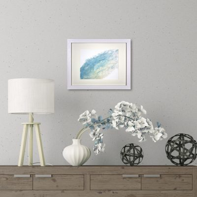 First Snow, a Blue and White Abstract Flow Painting by Heather Miller, WhiteRose's Art