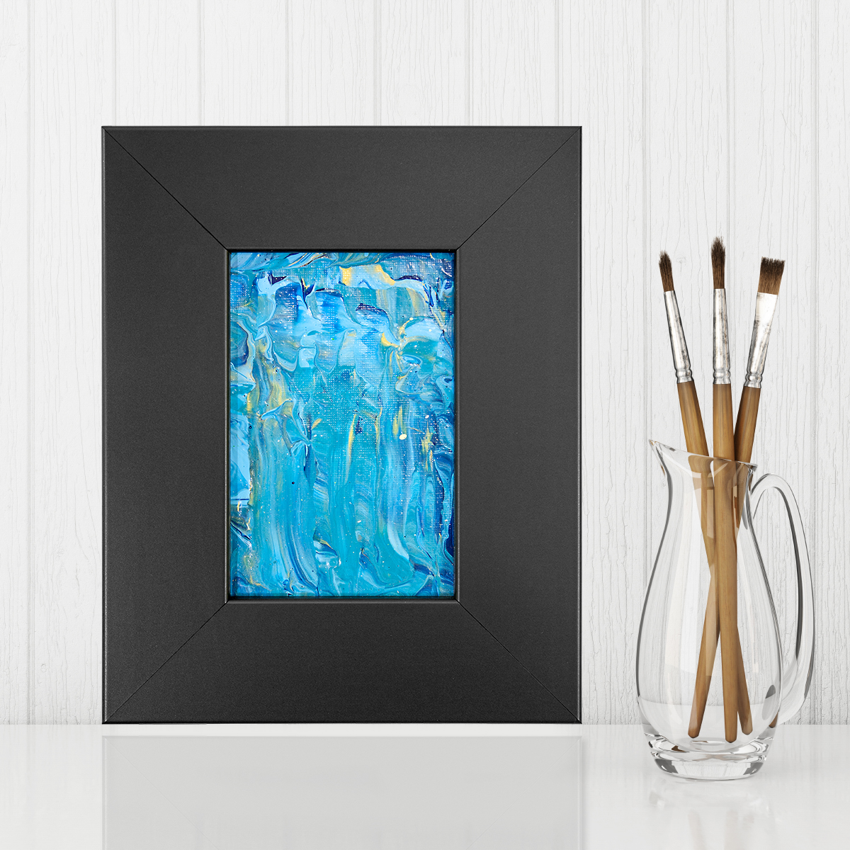 Cascade - Small Blue Framed Abstract Painting by Heather Miller Art