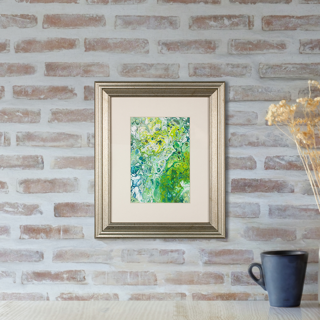Organic - A Green Abstract Flow Painting by Heather Miller by WhiteRose's Art