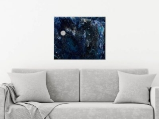 It's Full of Stars - Space Themed Abstract Painting by Heather Miller, WhiteRosesArt