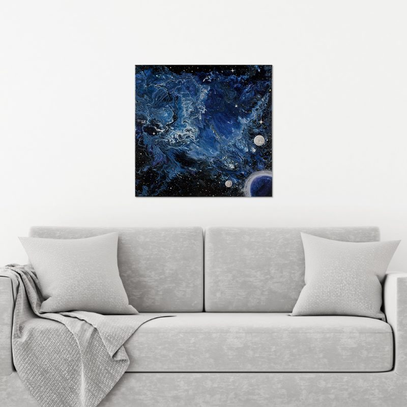 The Undine Nebula - a Space Themed Abstract Painting by Heather Miller, WhiteRose's Art