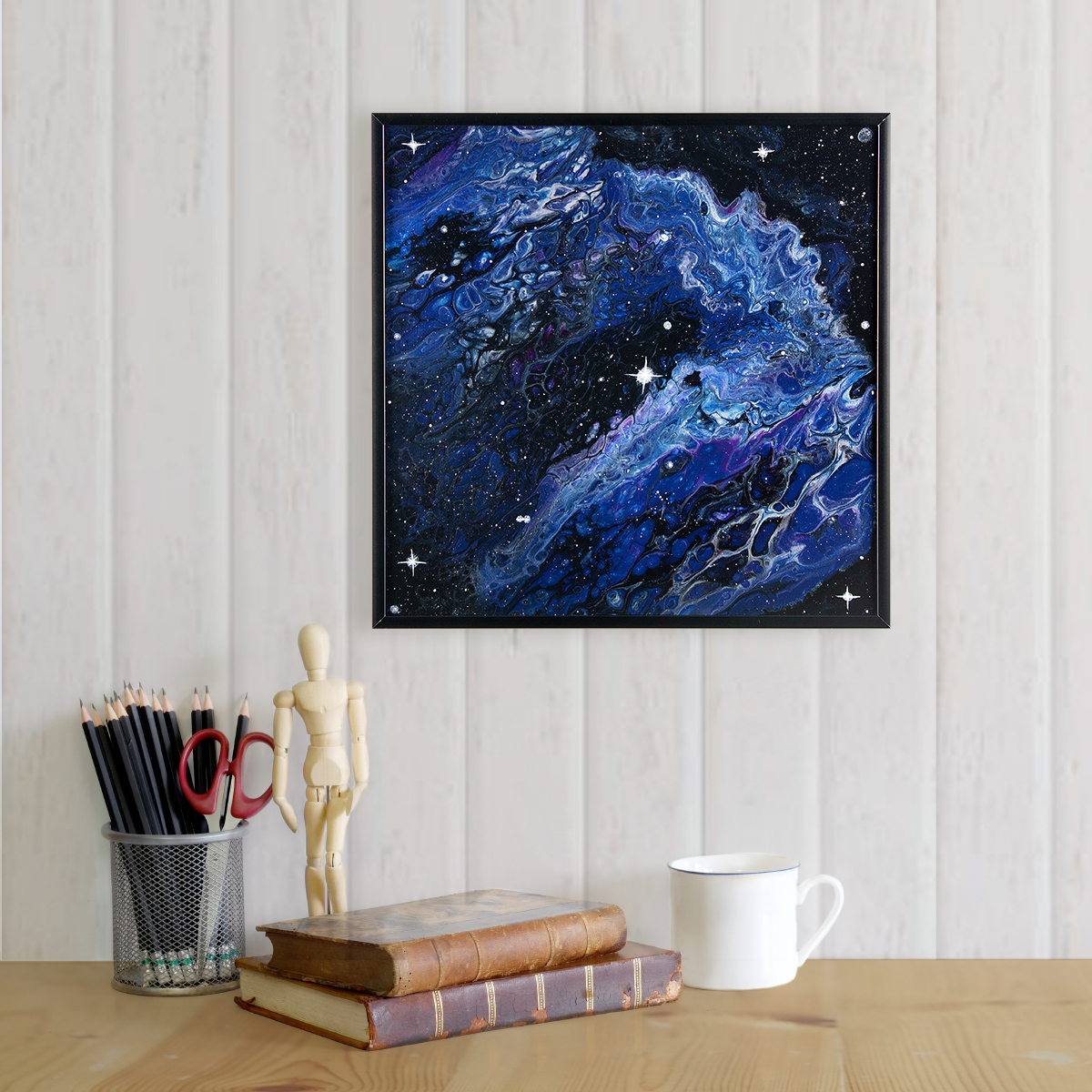 Waterfall Nebula - Abstract Acrylic Pour Painting featuring Deep Space by Heather Miller, WhiteRosesArt