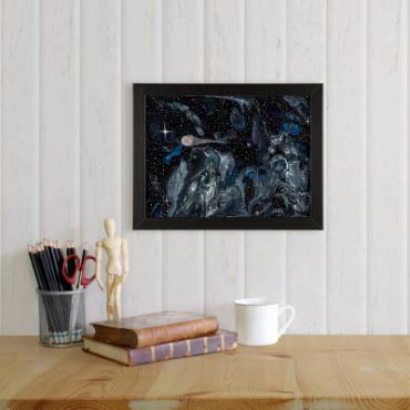 Fleeting Brilliance - Space Art, Comet Art, Space Painting by Heather Miller Art