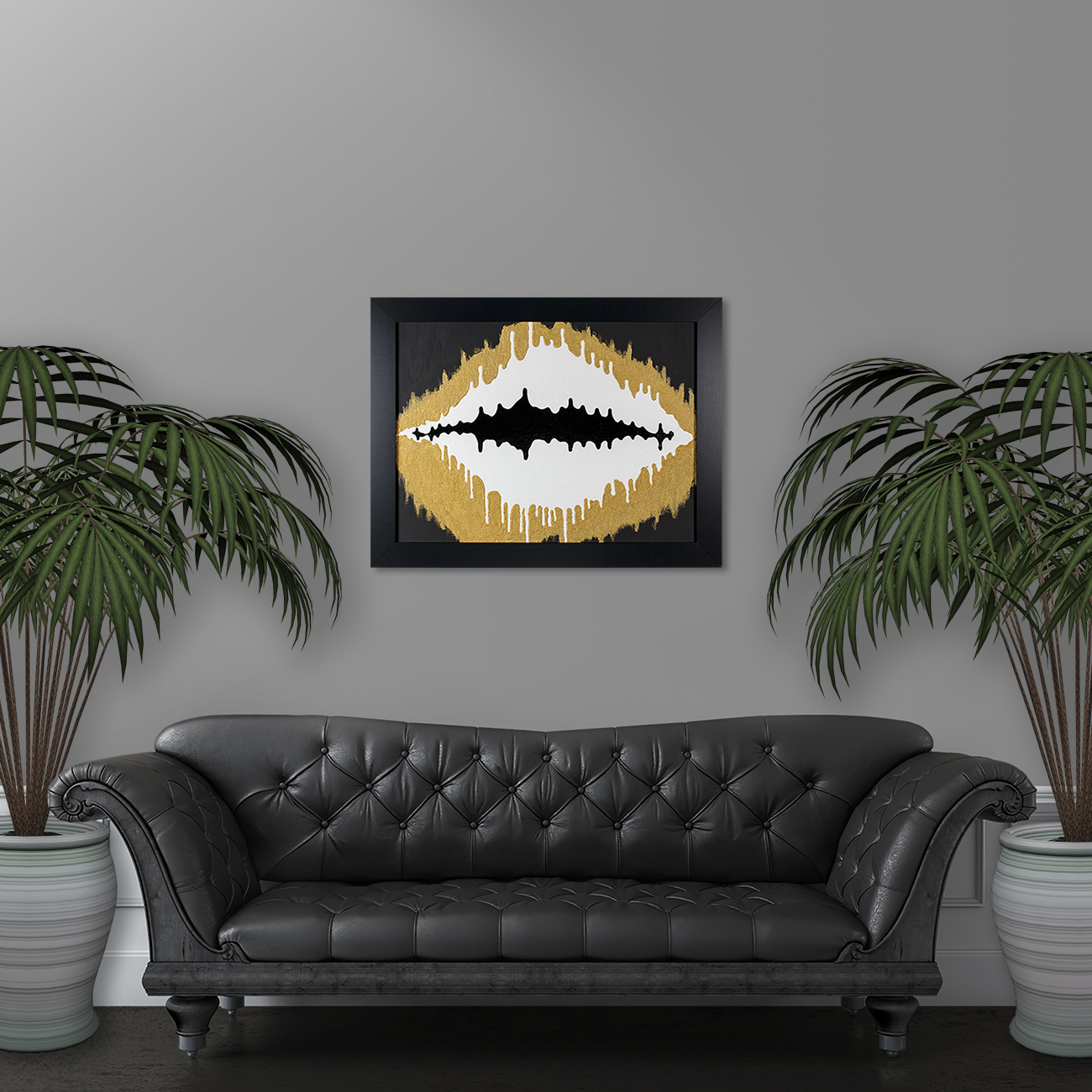 Wave Pattern - Gold and Black Mixed Media Painting by Heather Miller, WhiteRosesArt