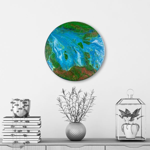 Aqueous Cuprum - Round Acrylic Pour Painting Sci-fi Planet Artwork