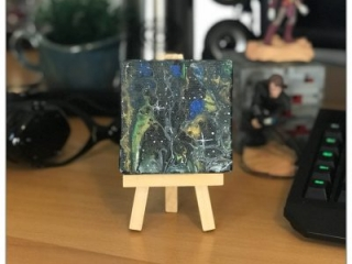 Dark Starry Space Abstract Mini Canvas Painting by Heather Miller
